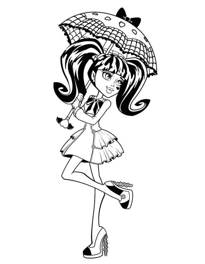 Draculauras Umbrella Coloring Page You Can Choose A Nice From MONSTER HIGH Pages For Kids Enjoy Our Free