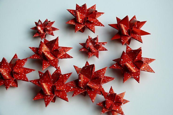 Vánoční+hvězdičky+8+ks+vánoční+dekorace+na+stromeček+-+hvězdička+z+papíru,+velikost+7+cm