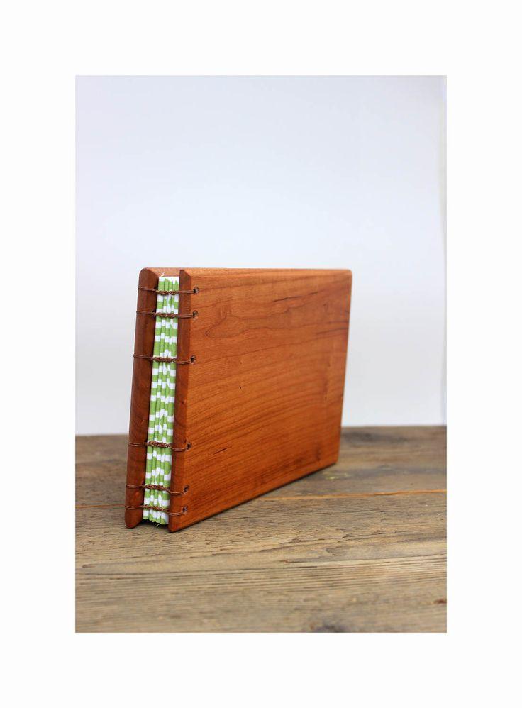 Black Cherry Wood Covered Guest Book - Woodland Rustic Wedding - Spring Wedding Album - Green Wood Guest Book - Handbound Coptic Stitch by BowtieAndTheBandit on Etsy
