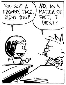 Calvin and Hobbes, The Quiz (3 of 4 DA) - You got a frowny face, didn't you? | NO, as a matter of fact, I didn't!