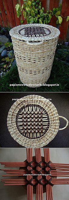 Плетение из газет. Узор для крышки круглой корзинки.
