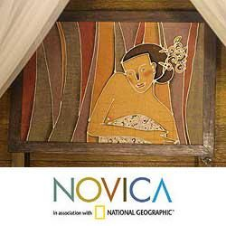 Alaya Cholprasertsuk 'Beautiful Woman' Framed Batik Art (Thailand) | Overstock™ Shopping - Top Rated Novica Framed Art