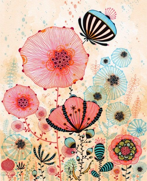 #Whimsical #watercolor #flower #art