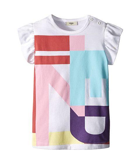 Fendi Kids Ruffle Sleeve Top w/ Graphic Logo Design (Infant)