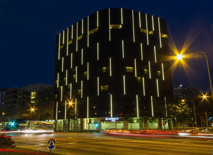 dorsett singapore hotel facade illuminated with led lights. Black Bedroom Furniture Sets. Home Design Ideas