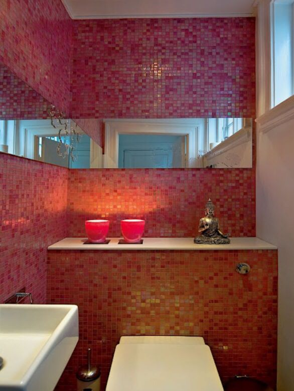 Pink Powder Room With A Zen Minimalist Feel