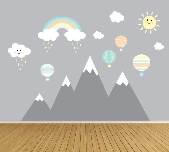Kids Wall Decals Nursery Wall Decals Mountain Wall Decal