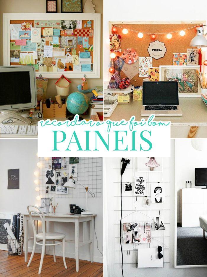 Decoração de home office: inspirações para sua parede! painel, painei de inspiração, painel de fotos, painel de recados, painel de lembranças, painel de cortiça, inspiração de painel, decoração de home office, decoração, home office, escrivaninha