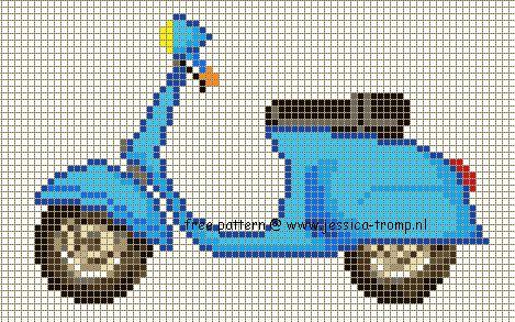 66 Free cross stitch designs bicycles scooters stitchingcharts borduren gratis borduurpatronen fietsen brommers kruissteekpatronen
