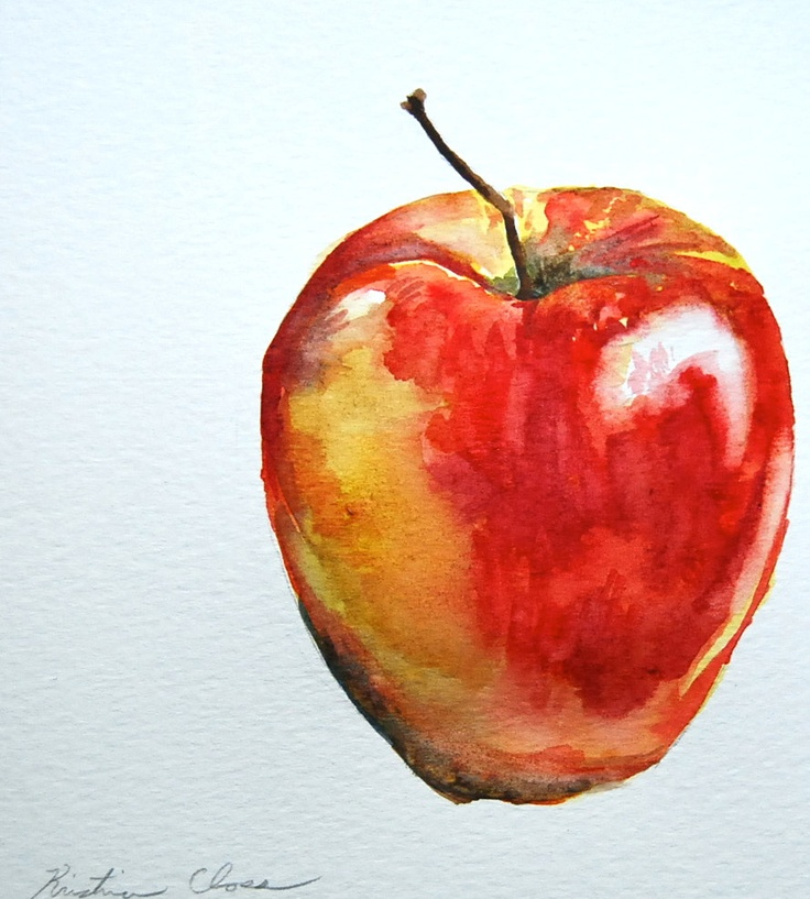 Apple Study by Kristina Closs   Watercolor fruit ... (736 x 817 Pixel)