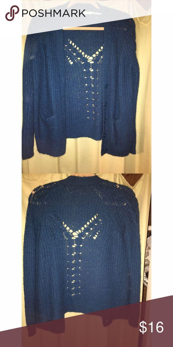 Kimchi Blue turquoise cardigan Turquoise cardigan with pattern Kimchi Blue Sweaters Cardigans