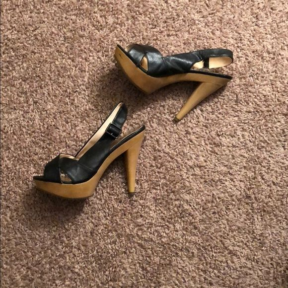 "Black Charlotte Russe Heels 5-6"" Charlotte Russe sling back heels. Are a size 10 but could fit a 9.5 Charlotte Russe Shoes Heels"