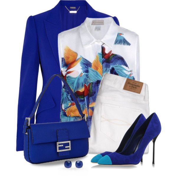 Brilliant Blue by snickersmother on Polyvore featuring moda, Elle Sasson, Alexander McQueen, Abercrombie & Fitch, Sergio Rossi, Fendi, Forever New and RGB