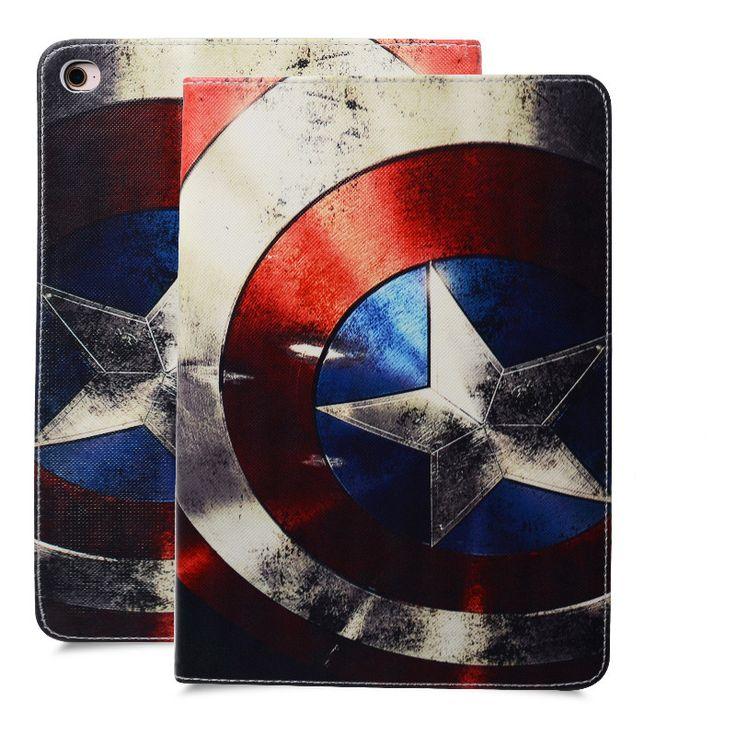 Luxury Fashion Case For IPad Mini 1 2 3 4 Ipad 2 3 4 5 6 Ipad air air 2 PU Leather Stand Silicone Cover Captain America/superman