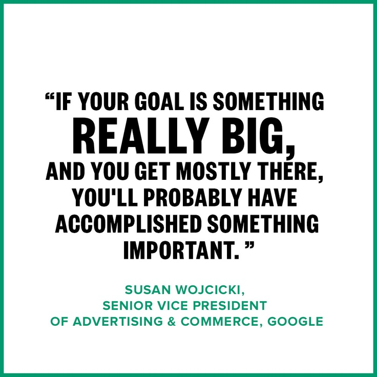Think big! Susan Wojcicki's (23andme, google, Youtube) accomplishments are vast! Watch the interview. http://aol.it/19lXh8J