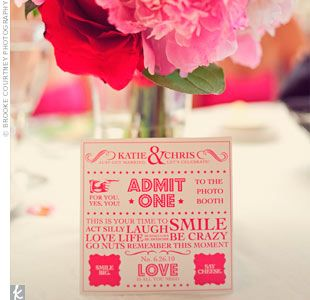 Photo booth ticket #wedding #pink