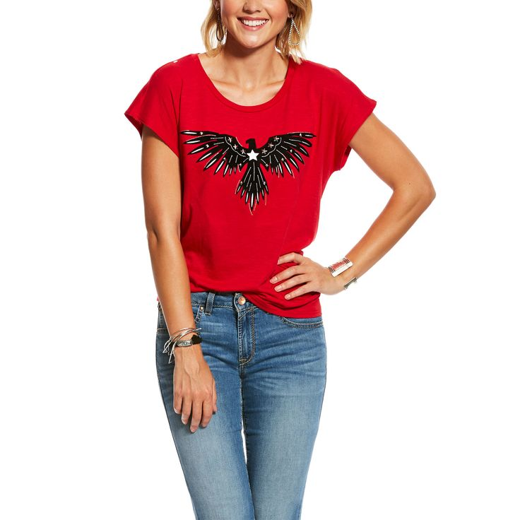 Women's Fly Away Tee Shirt in Tango Red Cotton, X-Small by Ariat 1