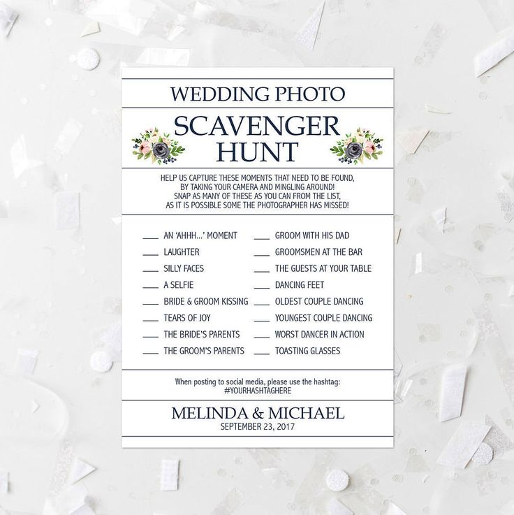 Floral Wedding Photo Scavenger Hunt List Printable Pink and Navy Floral Wedding Reception Activity Wedding Scavenger Game Hashtag Game 233 by MossAndTwigPrints on Etsy