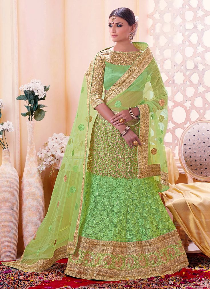 Green Net Wedding Lehenga Choli 68814