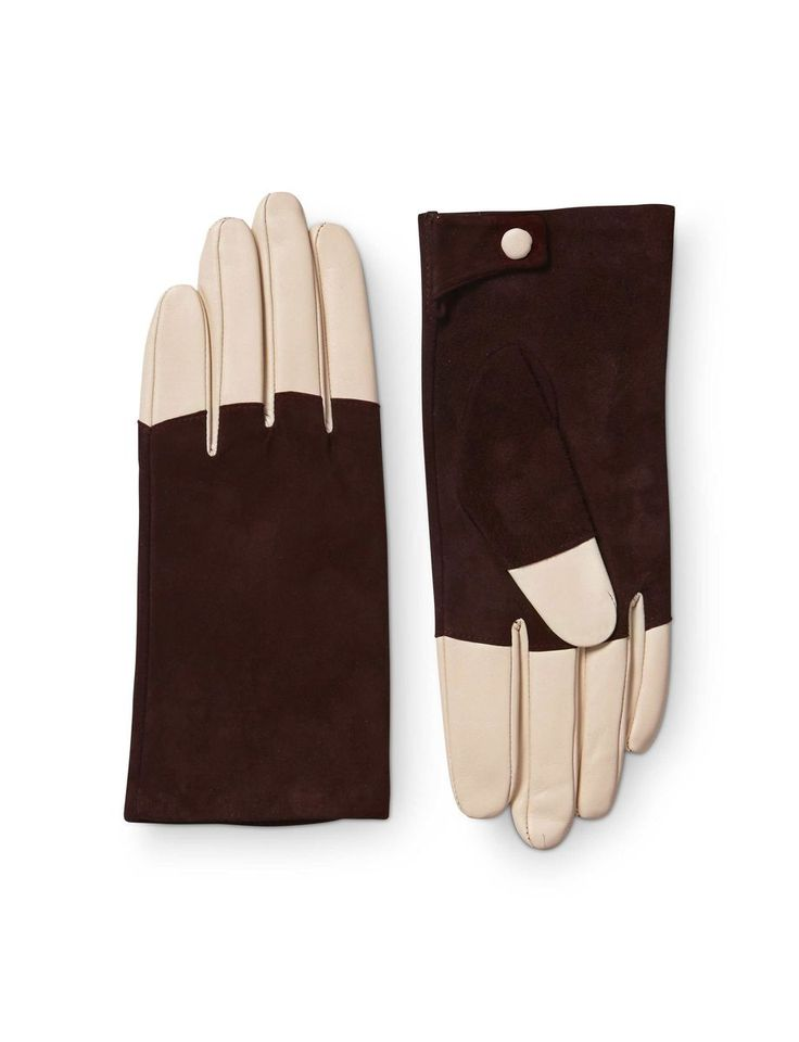 Helion gloves-Women's glove in leather nappa. Features nappa on palm side and fingers, contrast suede on top of hand. Press button closure. Fully lined.