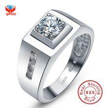 Galaxy 100% la plata esterlina 925 par Ring amantes de la joyería de moda 0.75ct CZ diamante anillos para hombre y mujeres YH018(China (Mainland))