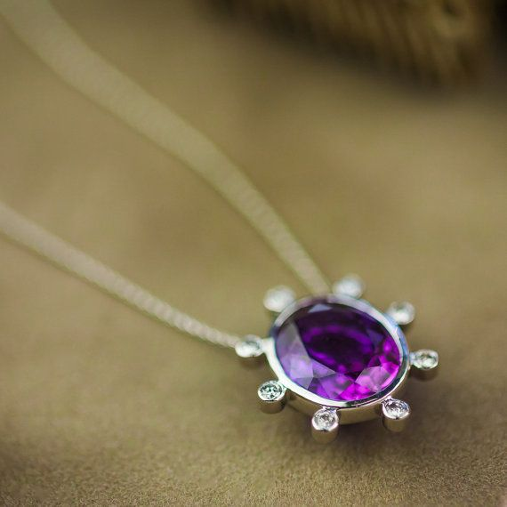 12CT Natural Amethyst and White Diamonds Necklace by ZEHAVAJEWELRY