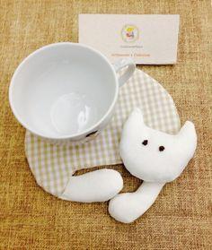 Porta copo :: Porta xícara gatinho dorminhoco Uma idéia original para vc  presentear de forma