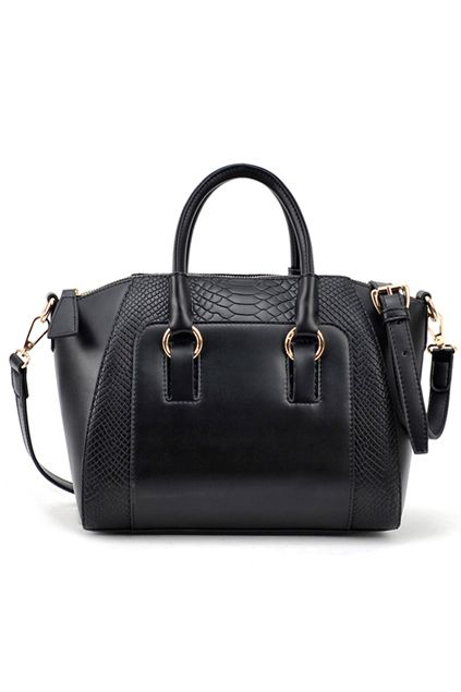 Romwe.com Crocodile Black Buckle Bag  $52.99