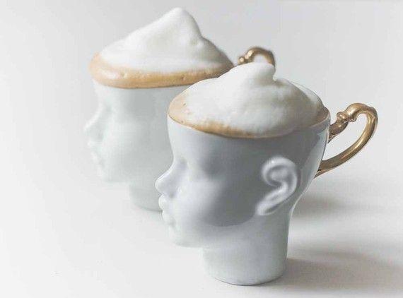 Porcelain coffee mug,  ceramic mug, white and gold, cups set, tea mug, china cup, set of two on Etsy, $75.00