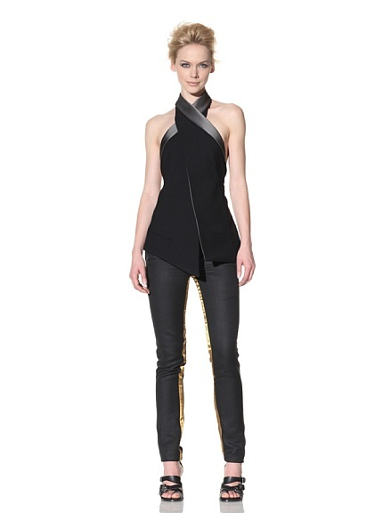 Open-Back Vest by Haider Ackermann.  Medium-weight wool blend, fold-over contrasting collar, wrap style, adjustable elasticized back closure