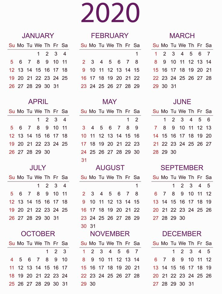 Yearly Calendar Planner 2020 in 2020 Calendar printables