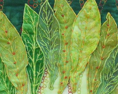 Loose Ends: appliqued leaves and beading