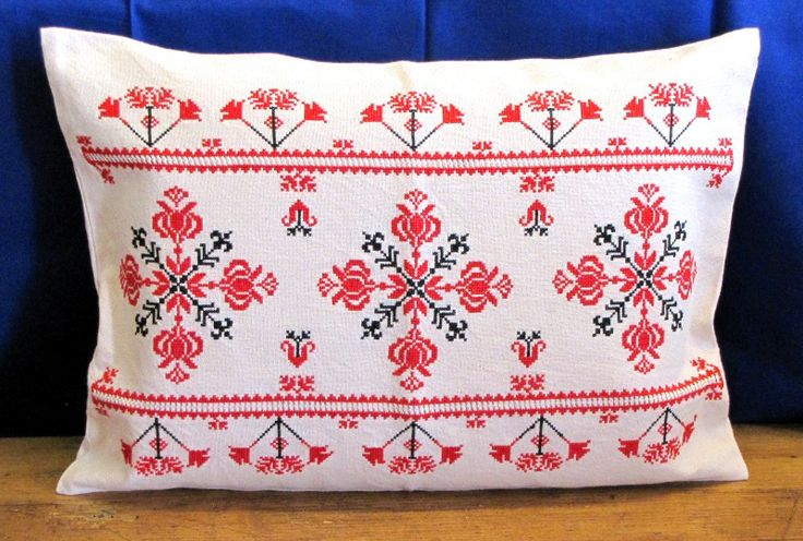 Handmade embroidered pillow.