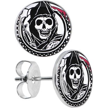 Officially Licensed Sons of Anarchy Grim Reaper Stud Earrings | Body Candy Body Jewelry