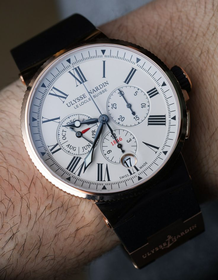 """Ulysse Nardin Marine Chronograph Annual Calendar Watch Hands-On - by Richard Cantley - more on aBlogtoWatch.com """"This year at Baselworld 2016, Ulysse Nardin presented the Marine Chronograph Annual Calendar Ref. 1533-150 (steel) and 1532-150 (18k red gold) series models with their new in-house UN-153 movement. This is yet another new annual calendar watch among a slew of many, but we think fans of the brand's slightly more classical timepieces will enjoy the refined overall looks..."""""""