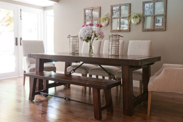 Farmhouse Table With Upholstered Chairs Dining Room