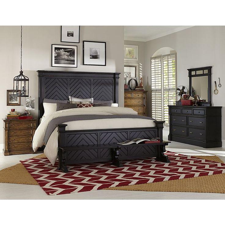 Broyhill Furniture   New Vintage Queen Chevron Bedroom Set