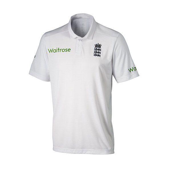 Adidas England Cricket Test Replica Junior Cricket Shirt - White - 11-12 Years