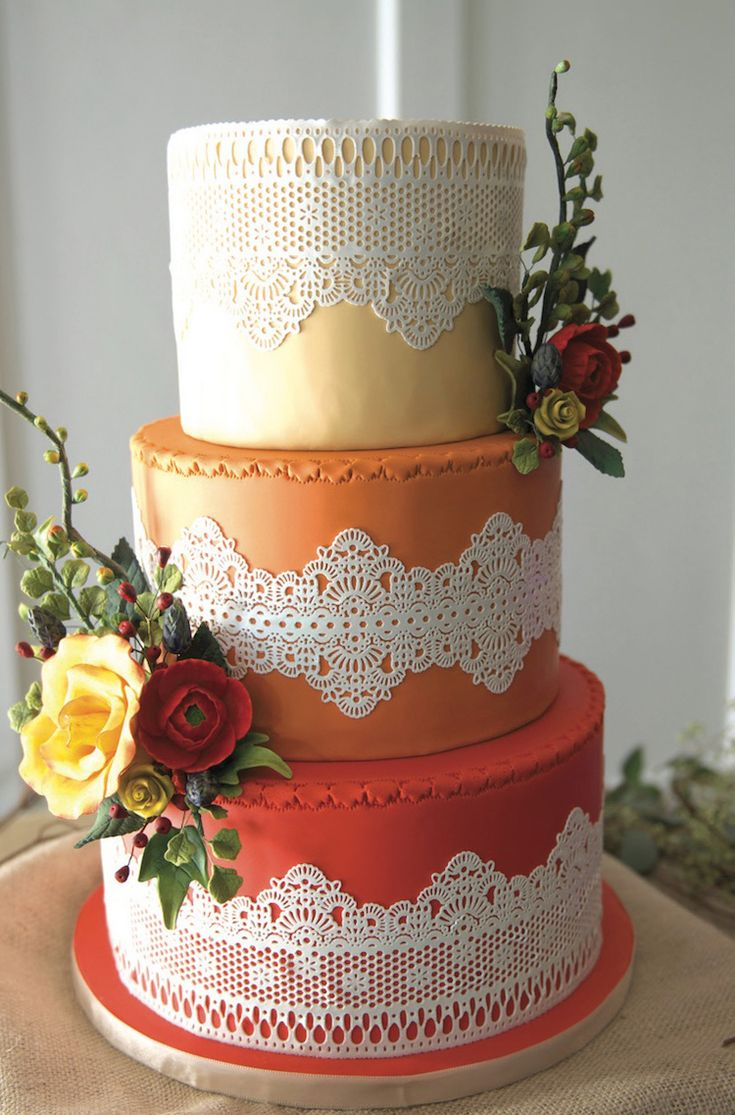 elegant fall wedding cakes fall wedding lace orange weddings and autumn 13960