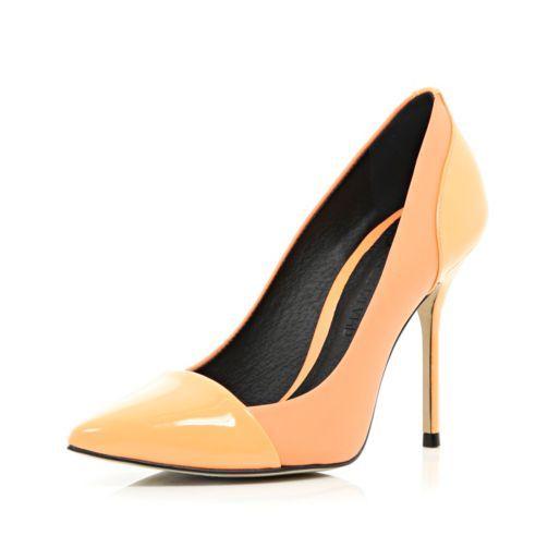 Light orange toe cap pointed court shoes - heels - shoes / boots - women