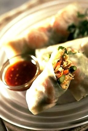 The Cheesecake Factory - Vietnamese Shrimp Summer Rolls - Delicate Rice Paper Rolled Around Asparagus, Shiitake Mushrooms, Carrots, Rice Noodles, Green Onion, Cilantro and Shrimp – Served Chilled.