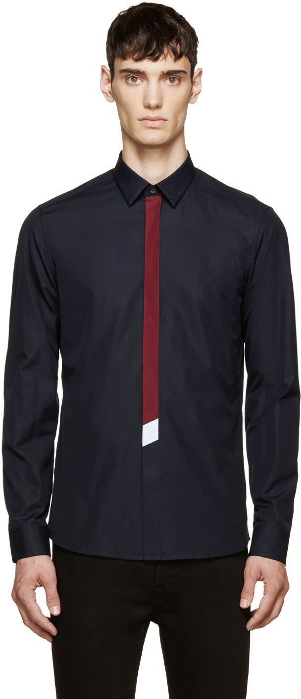 Shirt design for man 2016 - Kenzo Navy Tie Shirt