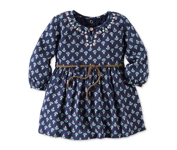 A fun floral print pairs with elegant embroidery on this belted Carter's dress, making it a charming choice for special days.   Cotton; belt: polyester   Machine washable   Imported   Allover floral p