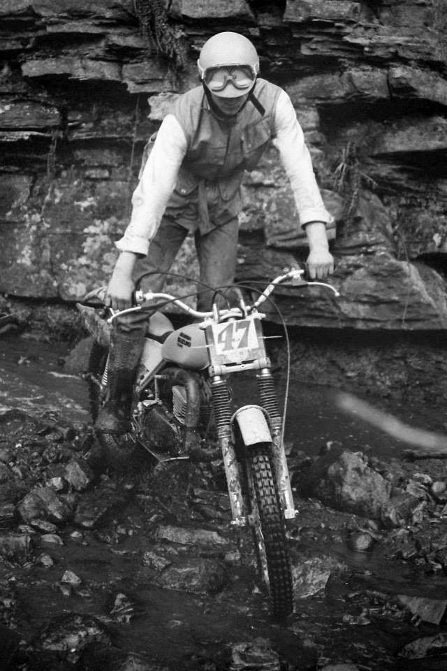 Former Scottish Trials Champion, Michael Tye  on his Beamish Suzuki at the Lanarkshire Valente Trial in 1979