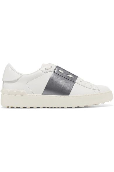 Valentino - Open Metallic-paneled Leather Sneakers - White - IT