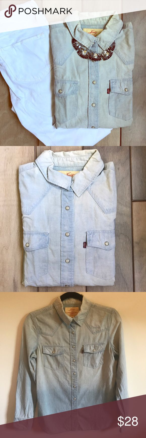 Selling this UO Levi's Western Chambray Pearl Button Shirt on Poshmark! My username is: sarkerrigan. #shopmycloset #poshmark #fashion #shopping #style #forsale #Urban Outfitters #Tops
