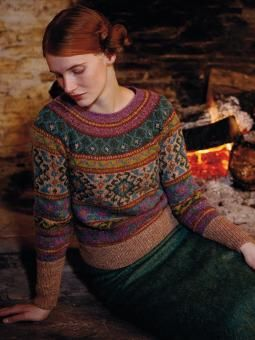 Anatolia - Knit this womens fairisle sweater from Rowan Knitting & Crochet Magazine 54, a design by Marie Wallin using Felted Tweed (wool, alpaca and viscose). With deep cuff and bands and raglan sleeves, this knitting pattern is suitable for the experienced knitter.