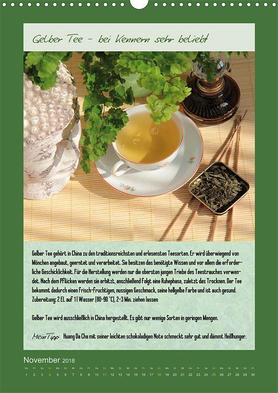 """Küchenkalender mit Text """"Meine Welt des Tees"""", Kalenderblatt November: Gelber Tee"""