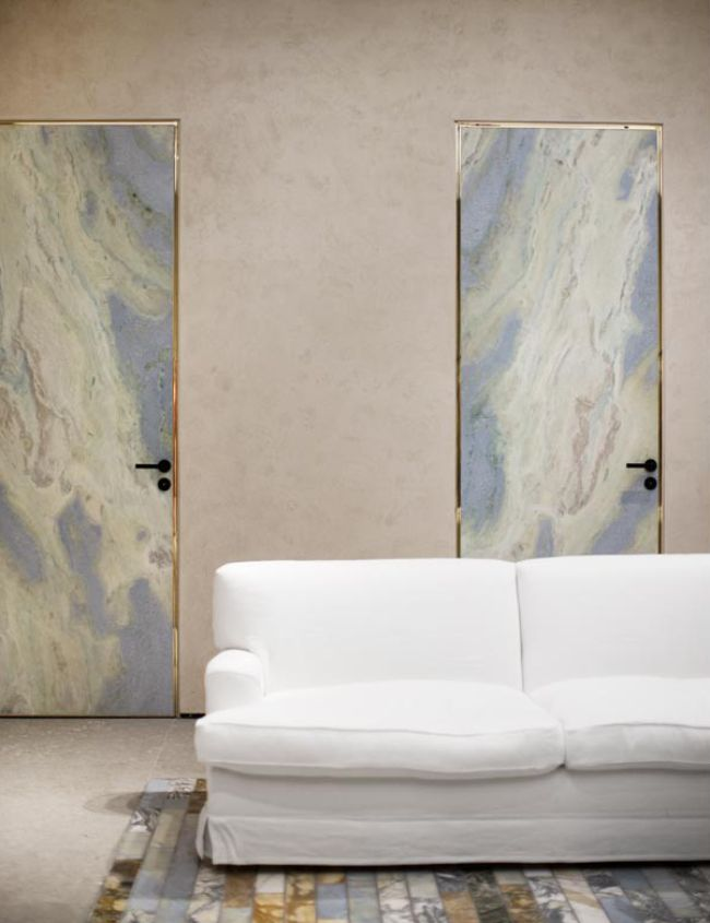 Marble and Brass Door and Floor inlays at Celine, Soho.