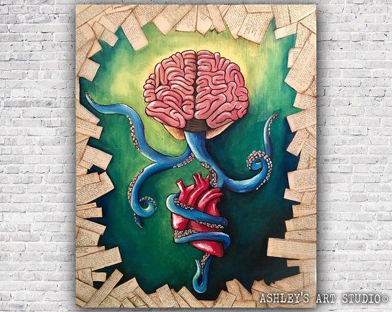 Original brainwashed oil painting brain octopus heart oil